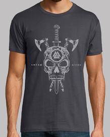 Calavera Vikingos y Armas Gris