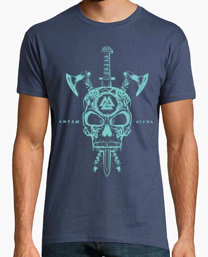 Camiseta Calavera Vikingos y Armas Verde