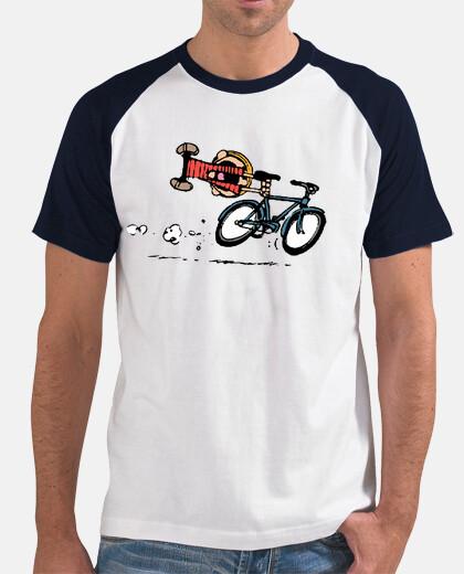 Calvin montando en bicicleta