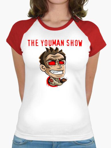T-shirt camicia. logo canale youman lo spettacolo, maniche taglio donna