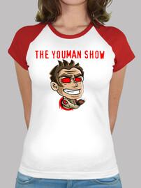 camicia. logo canale youman lo spettacolo, maniche taglio donna
