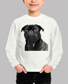 camicia manica lunga bambino e carlino nero cane disegno