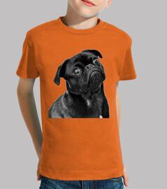 camicia per bambini disegno cane carlino carlino
