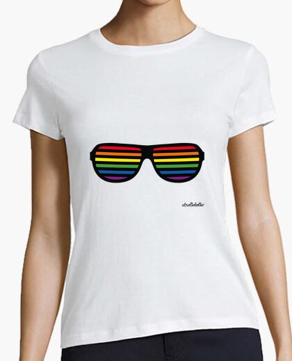 T-shirt camicie per lesbiche: gay pride bandiera occhiali
