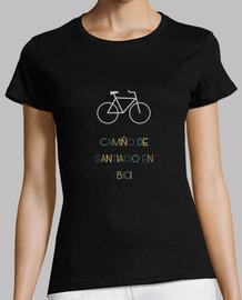 Camiño de Santiago, camiseta de mujer, negro manga corta