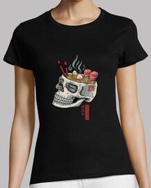 camisa de calavera ramen para mujer