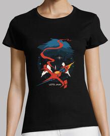 camisa de cowboy de espacio retro para mujer