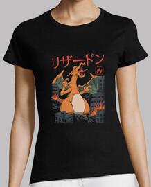 camisa de fuego kaiju para mujer