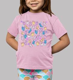 camisa de gatos de colores niños
