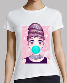 camisa de goma de mascar kawaii para mujer