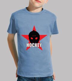 camisa de hockey infantil, manga corta, celeste