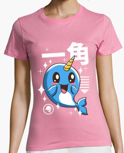 Camiseta camisa de narval kawaii para mujer