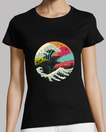 camisa de onda retro kaiju para mujer