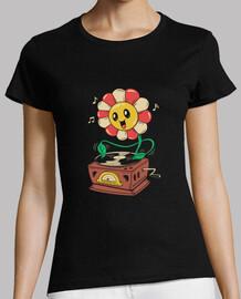 camisa de vinilo de flores para mujer