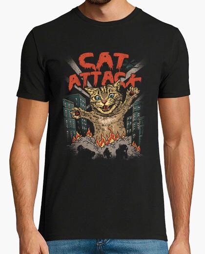 Camiseta camisa del ataque del gato para hombre
