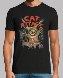 camisa del ataque del gato para hombre