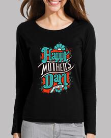 Camisa del día de la madre feliz de la manga de las mujeres largas