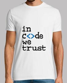 camisa del hombre del friki en código confiamos