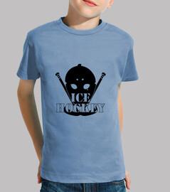 camisa del niño del hockey, de manga corta, celeste