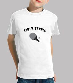 camisa del tenis de mesa infantil, manga corta, blanco