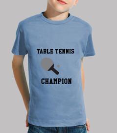 camisa del tenis de mesa infantil, manga corta, celeste