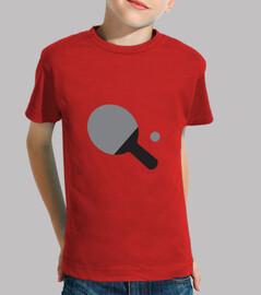 camisa del tenis de mesa infantil, manga corta, rojo