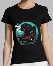 camisa del vaquero del espacio para mujer