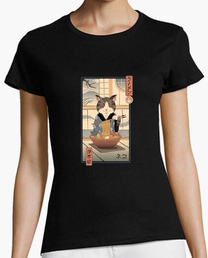 Camiseta camisa neko ramen ukiyo-e mujer