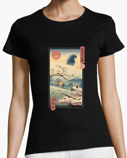 Camiseta camisa princesa lobo ukiyo e mujer