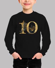 Camiseta 10 años niña dorado manga larga