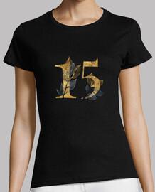 Camiseta 15 años dorado cumpleaños mujer