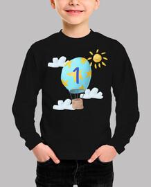 Camiseta 1er cumpleaños dibujo globo niños 1 año