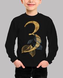 Camiseta 3 años dorado manga larga