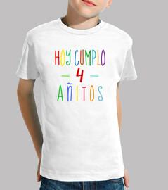 Camiseta 4 cumpleaños niño o niña