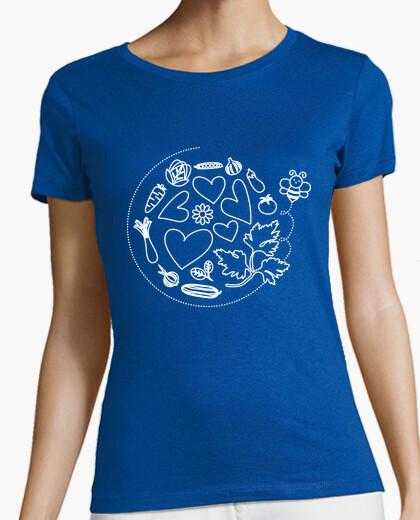 Camiseta Abeja en el huerto. Mujer, manga corta, verde, calidad premium