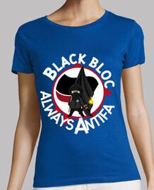 camiseta ajustada para mujer - block negro always antifa