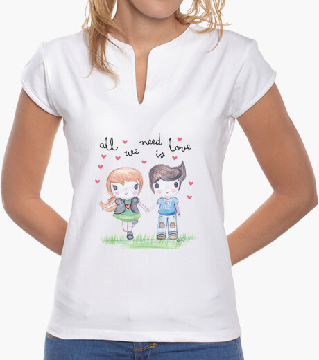 Camiseta All you need is love-  Mujer, cuello mao, blanca