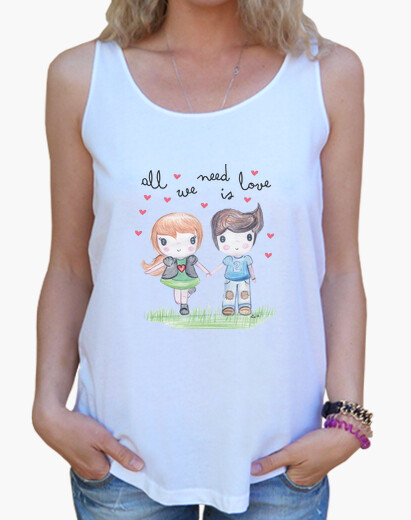 Camiseta All you need is love- Mujer, tirantes anchos & Loose Fit, blanca
