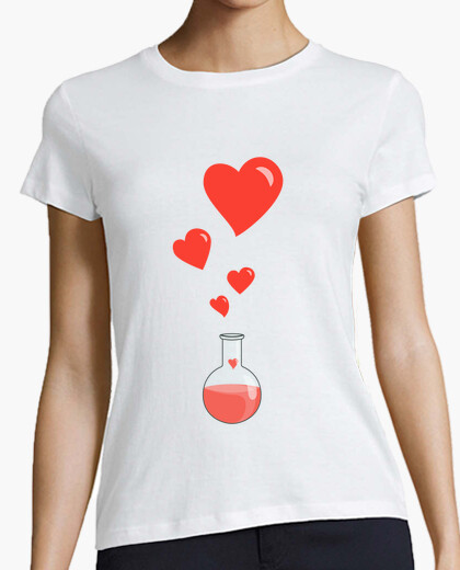 Camiseta amor matraz química del friki de los corazones blancos