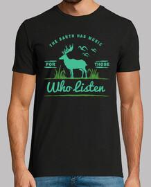 Camiseta Animales Retro Vintage Naturaleza La tierra tiene música para quienes la escuchan