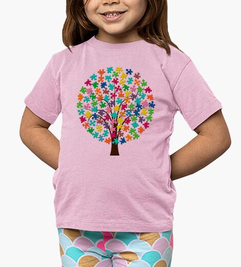 Ropa infantil Camiseta Arbol puzzle de color