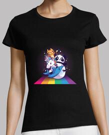 Camiseta arco iris del montar a caballo