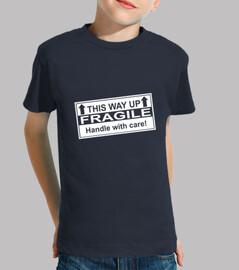 Camiseta azul marino Fragile, Niño