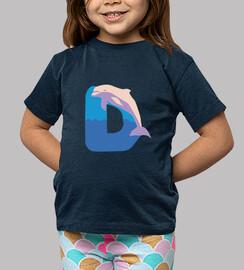 camiseta azul marino, letra D