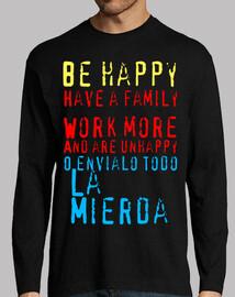 Camiseta Be happy negra hombre manga larga
