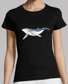 Camiseta Bebe ballena yubarta - Mujer, manga corta, negra, calidad premium