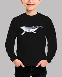 Camiseta Bebe ballena yubarta - Niño, manga corta, azul marino