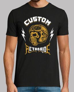 Camiseta Biker Retro Skull Motos Vintage Motorcycle Bikers Custom