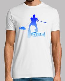 Camiseta blanca - Silueta azul