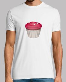 Camiseta blanca cupcake de frambuesa